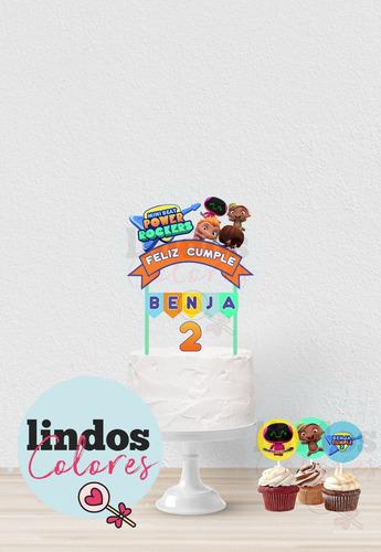 toppers adorno para torta - cupcakes power rocker imprimible