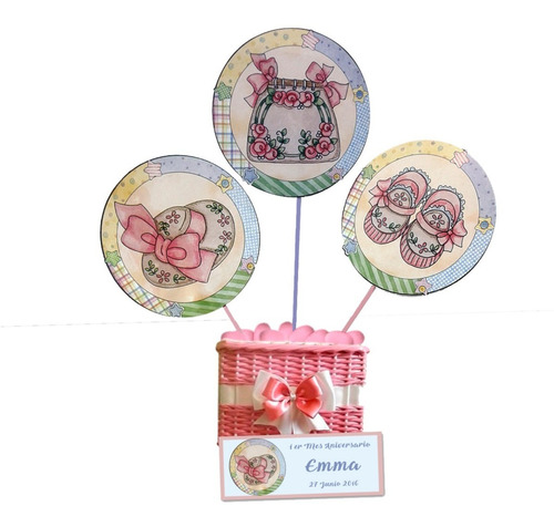 toppers baby shower niña n3 en cartulina 16 grs (12 unid)