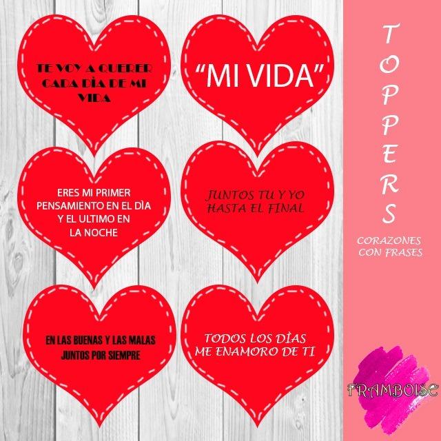 Toppers Corazones Con Frases Para San Valentin O Aniversario Bs 2