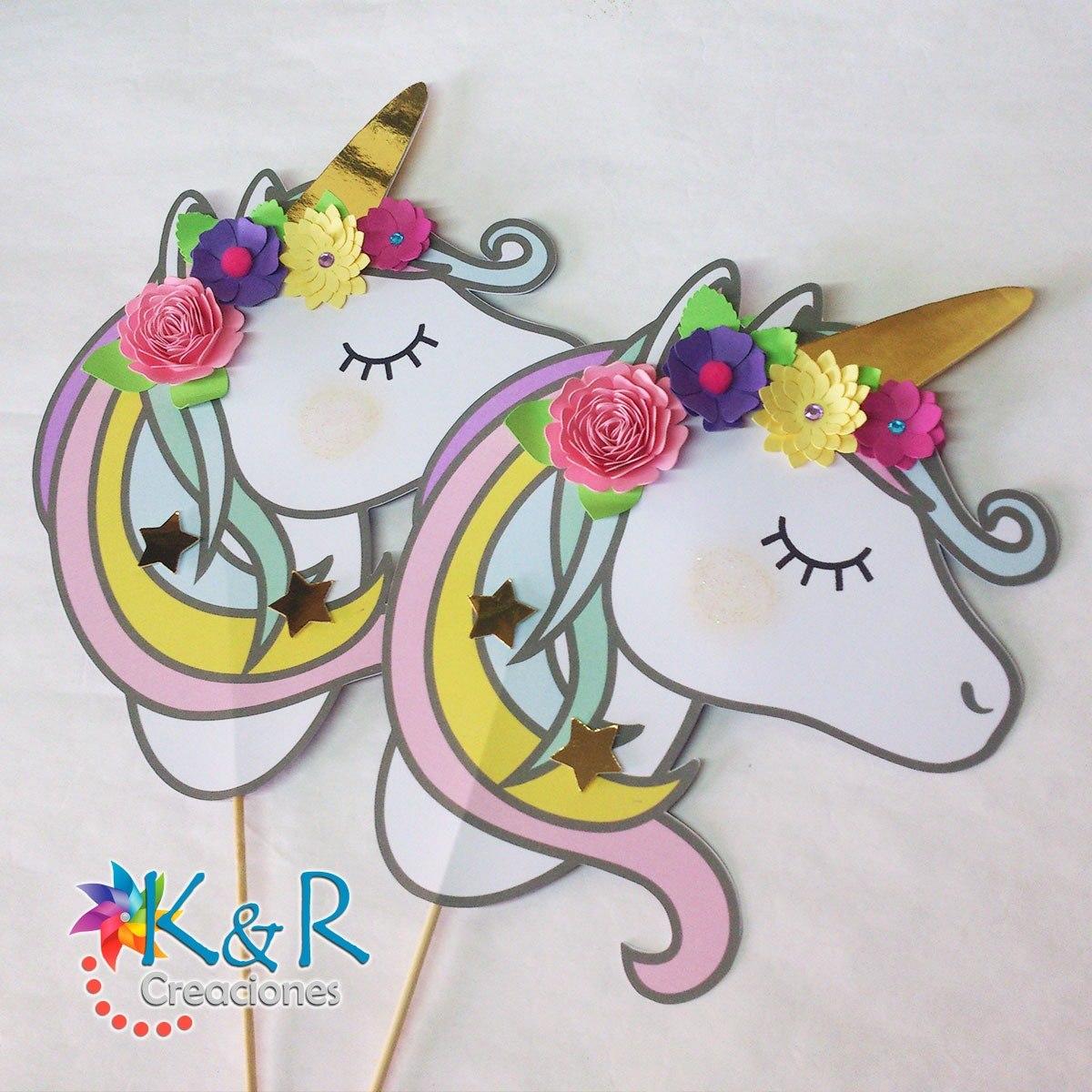 Toppers de unicornios centro de mesa con flores 3d bs for Diseno de mesa de unicornio