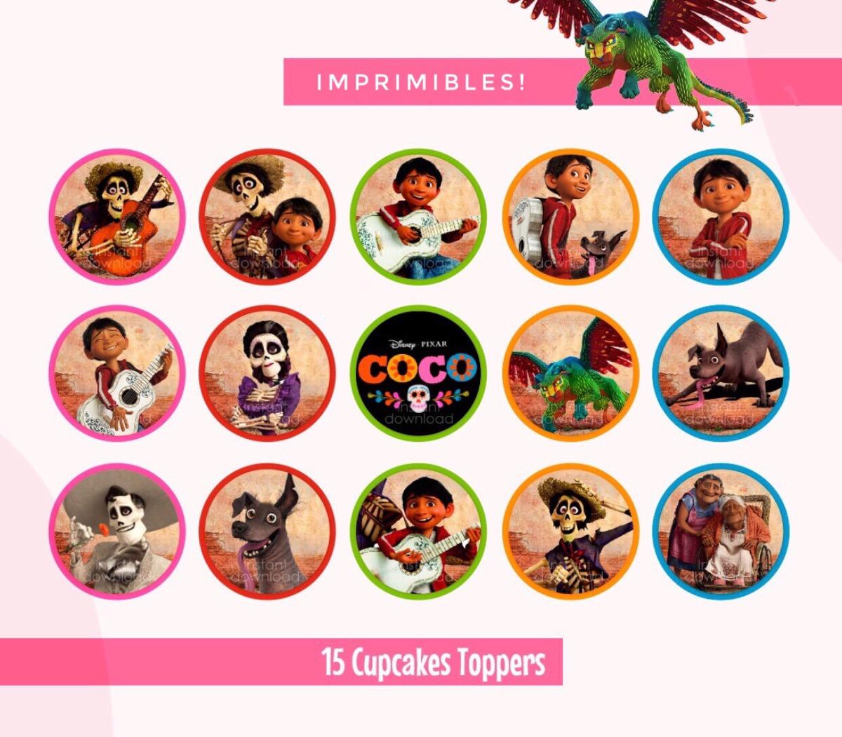 Toppers Imprimibles Disney Coco Pixar Fiesta Cupcakes 50 00