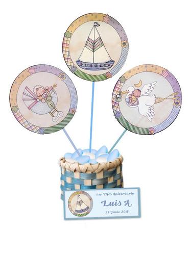toppers para baby showers niño en cartu 16 gr n1 (12 unid)