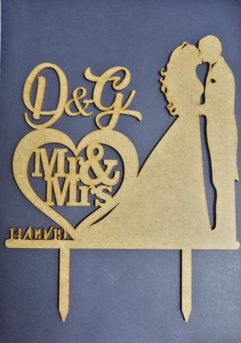 toppers para bodas personalizados en mdf crudo 3mm en láser