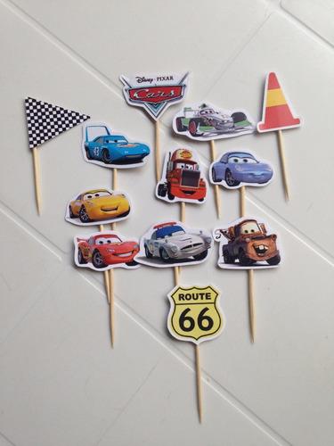 toppers postres cars 3 variados (docena)