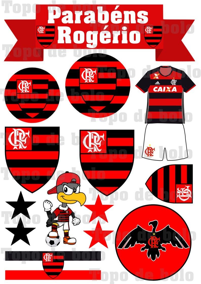 Toppo Topo De Bolo Scrap Personalizado Flamengo P Imprimir R