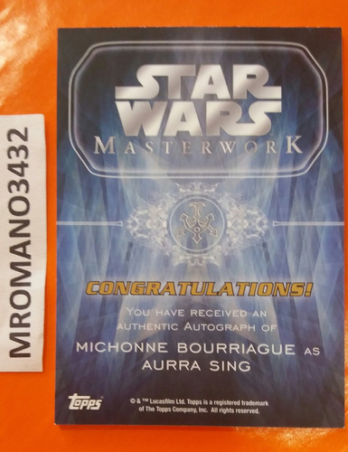 topps star wars autografo michonne bourriague / aurra sing