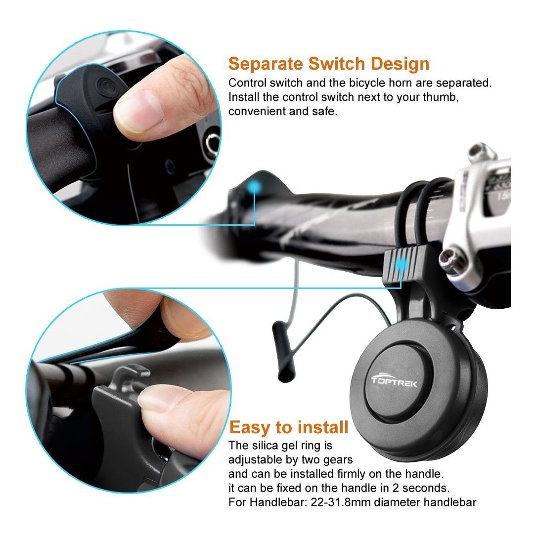 Rechargeable 120dB Cycling Bicycle Electric Horn Bell Bike Handlebar Ring Alarm