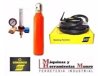 torcha tig esab + tubo argon 1/2 mt3 + valvula regulador con caudalimetro marca liga maqyherr