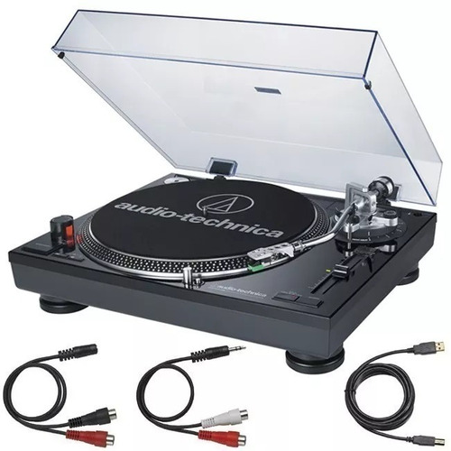 tornamesa at-lp120 usb, color negro, audiotechnica