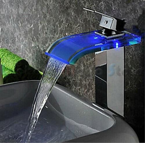 Torneira Para Banheiro De Metal Cascata Vidro Led Cuba Alta  R$ 384,26 em Me -> Torneira Para Cuba Para Banheiro