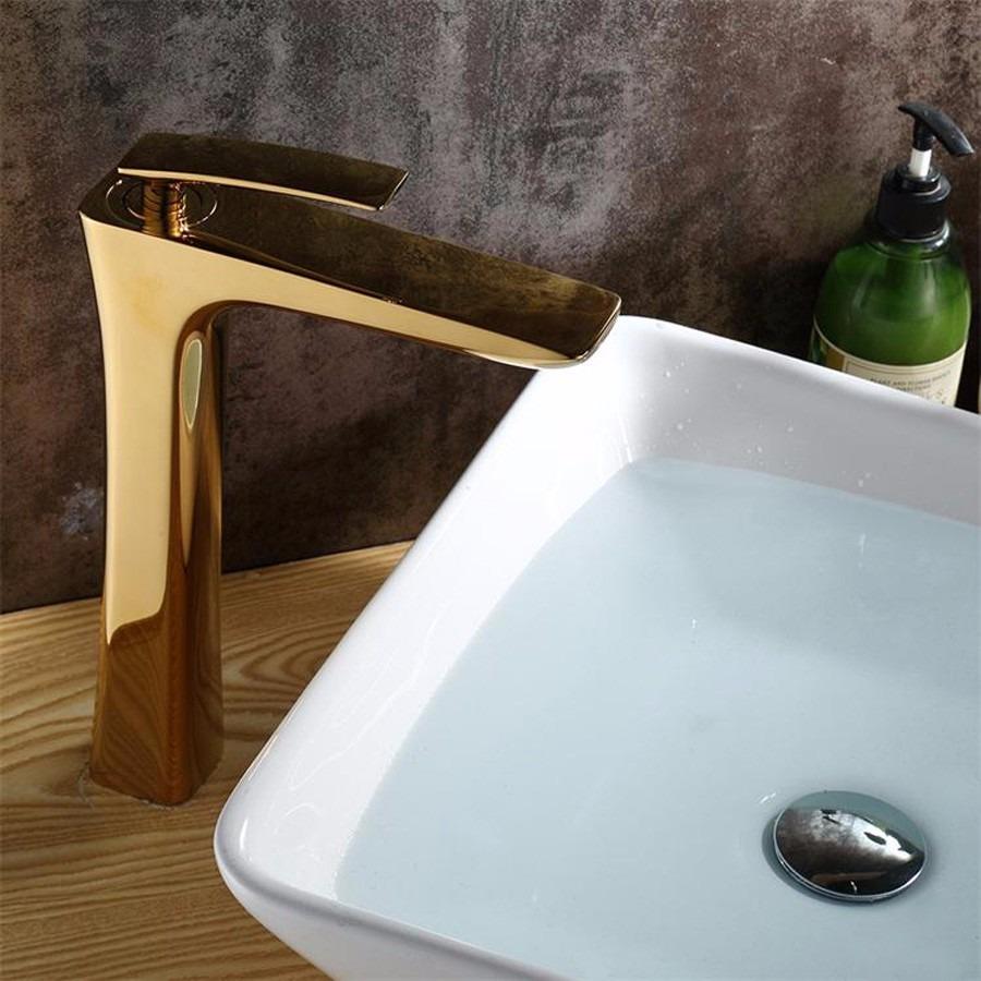 Torneira Banheiro Metal Misturador Dourada Cuba Elevada  R$ 479,90 em Mercad -> Cuba Banheiro Misturador