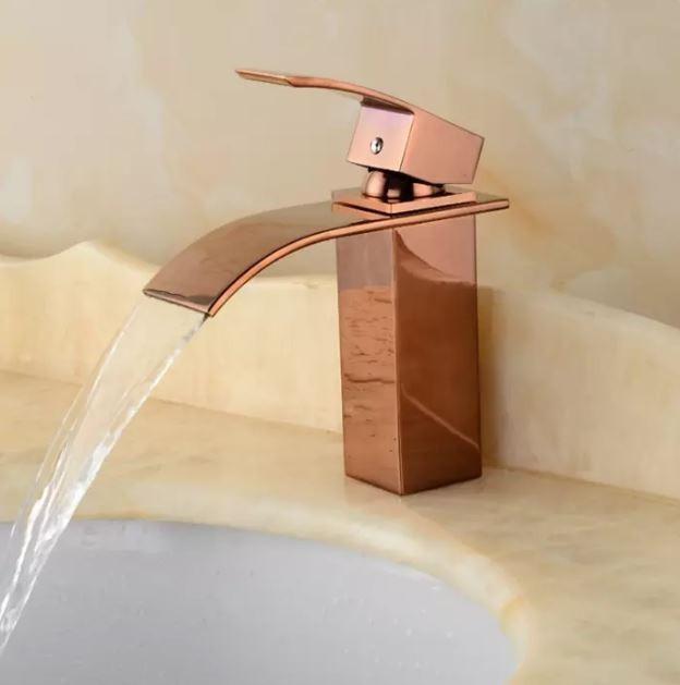 Torneira Cascata Banheiro Misturador Quadrada Rose Gold