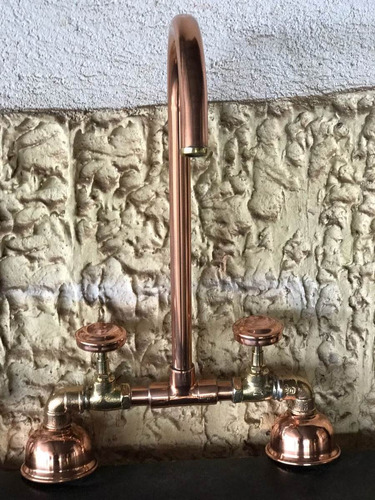 torneira  cobre puro com misturador  banho cobre