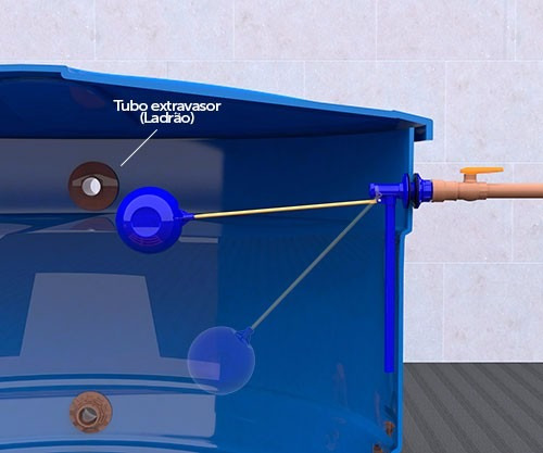 torneira de bóia para caixas d' água c/ flange 2 em 1 blukit