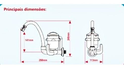 torneira - elétrica  bica móvel alta  abre fácil  ( fame )