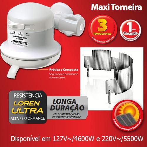 torneira eletrica maxi ultra 110v ou 220v parede lorenzetti
