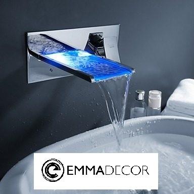 Torneira Parede Led Banheiro Lavabo Monocomando Mil 227 O Emma