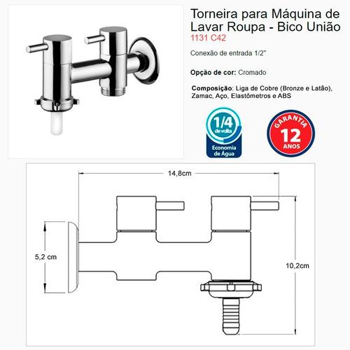 torneira tanque e máquina de lavar roupa lorenzetti 1131 c42