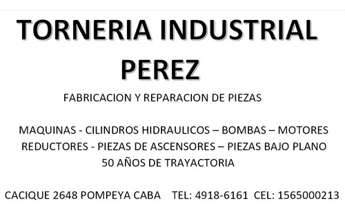 torneria industrial  reparaciones fabricacion piezas
