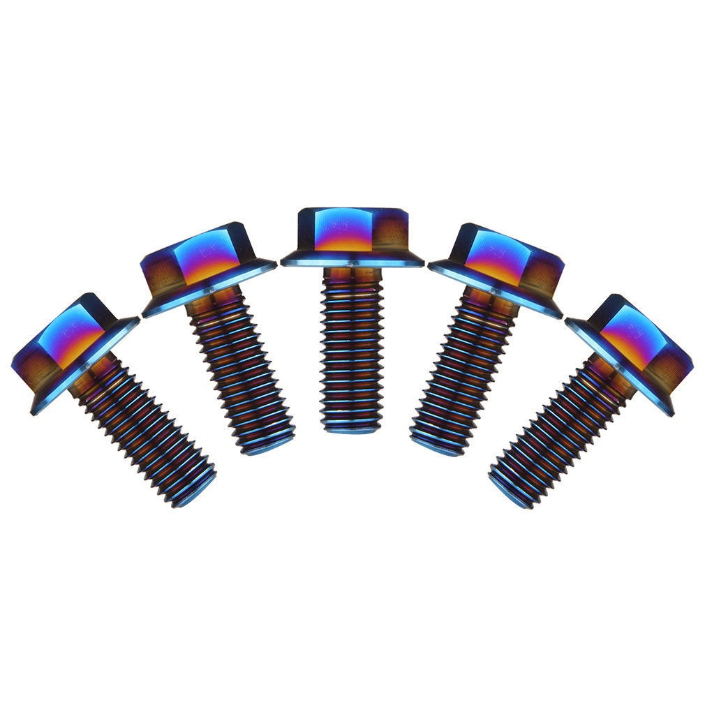 RockBros M10 Titanium Ti Hex Head Cap Bolt Flange Bolt 1.5mm Pitch 1Pc Colorful