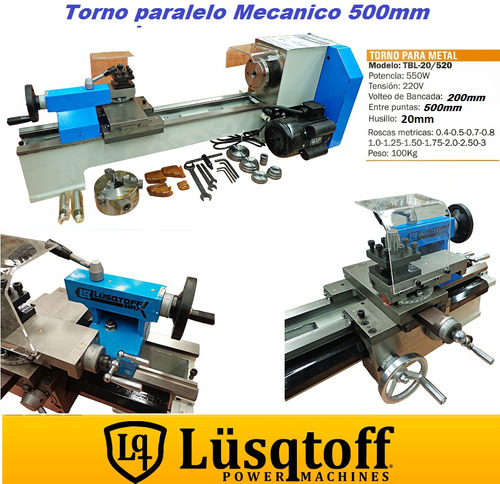 torno mecanico paralelo lusqtoff 500 mm ideal talleres 550w