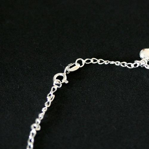 tornozeleira de prata 925 coração 25cm
