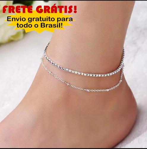 tornozeleiras feminina folheadas a prata