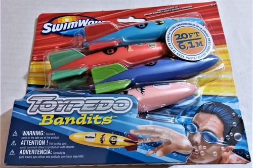 torpedos acuáticos swimways: sumergible toypedo bandits