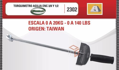 torquimetro aguja wembley enc. 1/2 y 3/8 de 0 a 20 kg auto 450mm cod. 2302 dgm