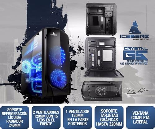 torre chasis iceberg crystal g5 + 3 ventiladores rgb control