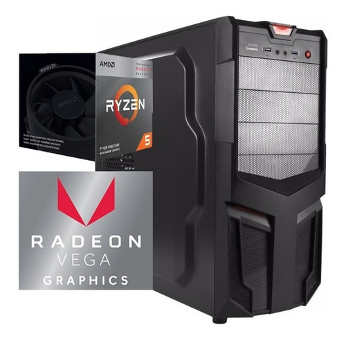 torre cpu gamer ryzen 5 3400g vega 11 1tb 8gb pc black week
