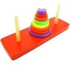 torre de hanoi de colores juguete didactico madera mck7283