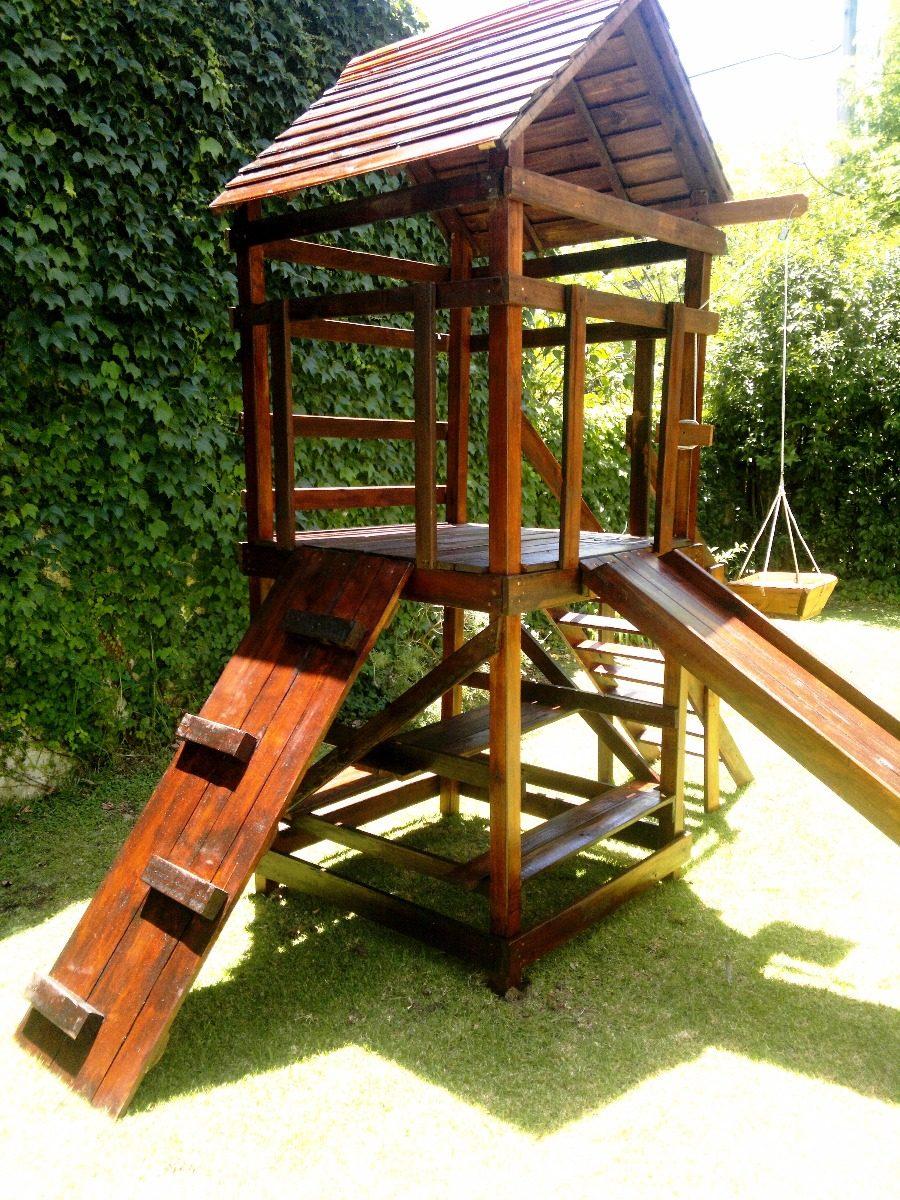 Torre De Madera Para Jardin Con Tobogan Y Juegos Infantiles