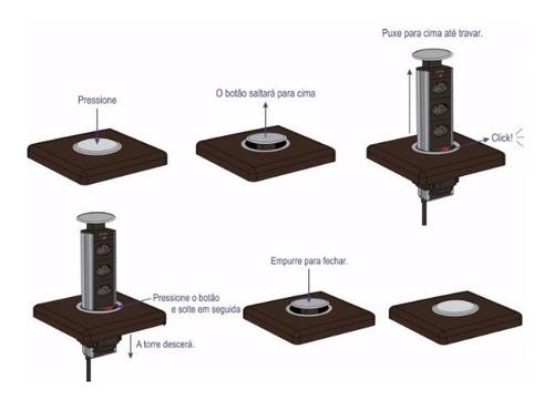 torre de tomada multiplug retrátil embutir mesa - promoção!