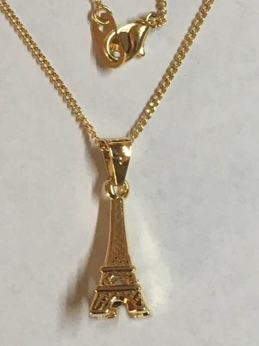 torre eiffel con cadena todo en chapa de oro 22k