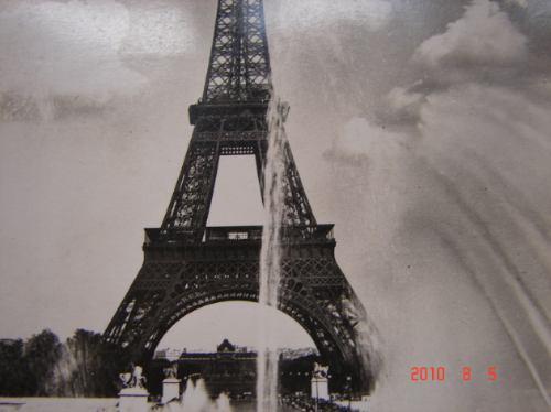 torre eiffel, paris -  antigua postal.