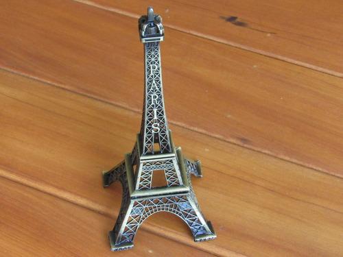 torre eiffel paris miniatura decor retro 18cm metal bronze