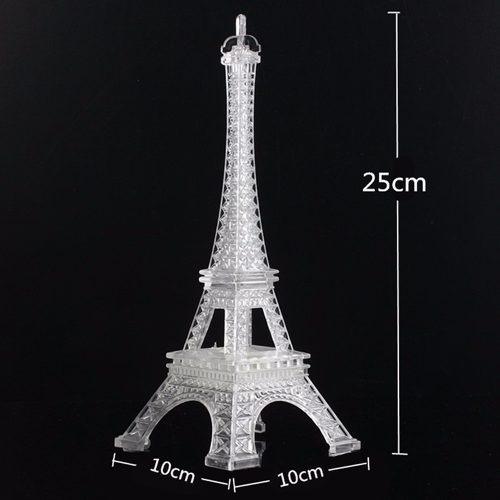 torre eiffel paris plástico transparente luz led 25cm