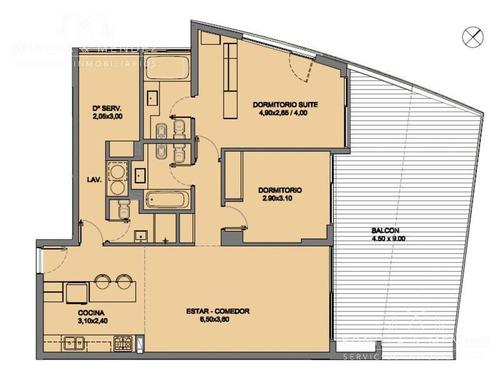 torre esmeralda, equipado,2 dormitorios, 2 baños, dependencia de servicio con baño
