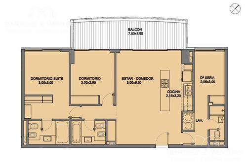 torre esmeralda, equipado,2 dormitorios, 2 baños, dependencia de servicio con baño, verano 2018 disponible!!