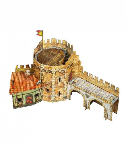 torre esquinera medieval modelo a escala rompecabezas 3d