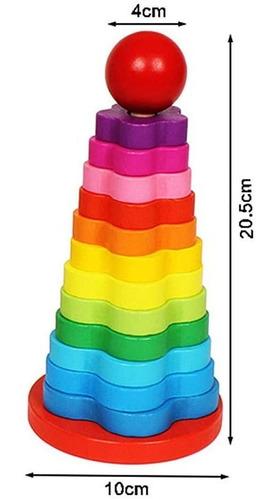 torre madera arcoiris 12 niveles didáctico montessori