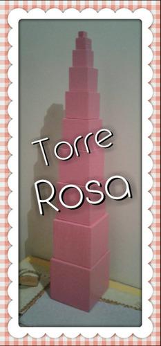 torre rosa  montessori, de madera.