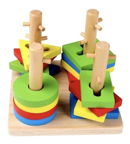 torre x 4 encastre madera didáctico dificultad colores niños