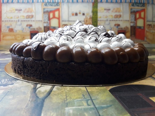 torta brownie con dulce de leche y merengue italiano