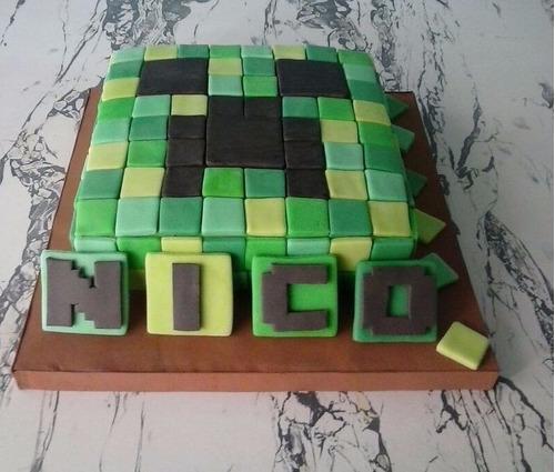 torta cuadrada 20cm - minecraft - creeper - fondant 2d