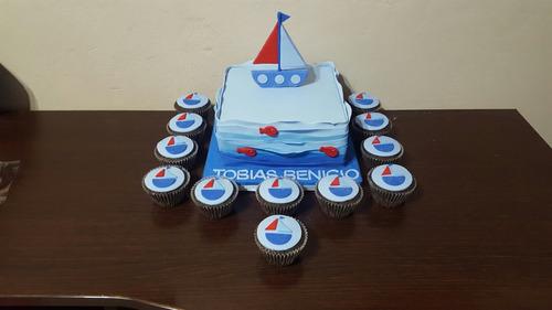 torta decorada de 2 kg y 12 cupcakes.el motivo que elijas!!!