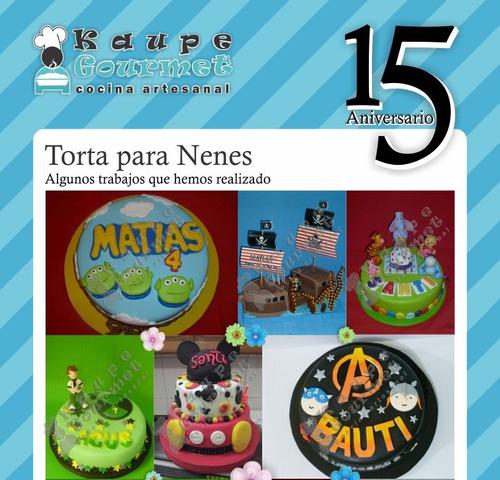 torta decorada infantil nenes - chicos - cumpleaños - kaupé