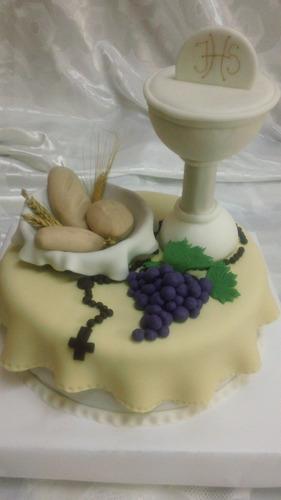 torta decorada para comunion y  bautismo