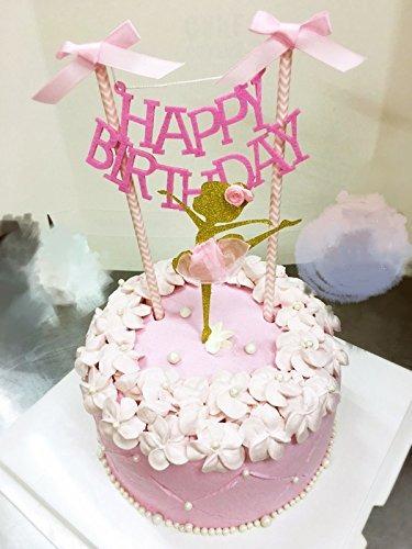 Torta Del Feliz Cumpleanos Bunting Topper Con Lazos Rosas Y